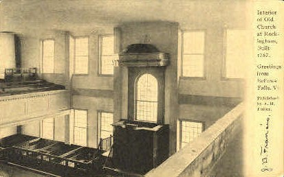 Interior, Old Church Rockingham - Bellows Falls, Vermont VT Postcard