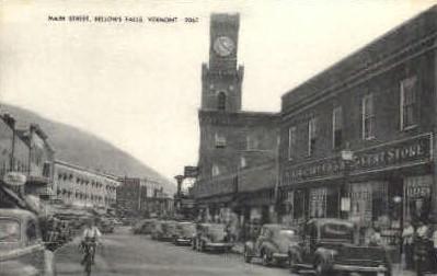 Main St. - Bellows Falls, Vermont VT Postcard
