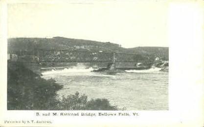 B. & M. Railroad Bridge - Bellows Falls, Vermont VT Postcard