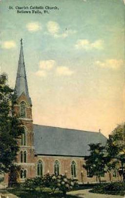 St. Charles Catholic Church - Bellows Falls, Vermont VT Postcard