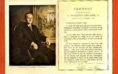 President Coolidge - Bennington, Vermont VT Postcard