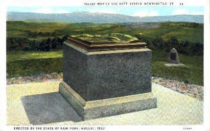 Relief Map of Battlefield - Bennington, Vermont VT Postcard