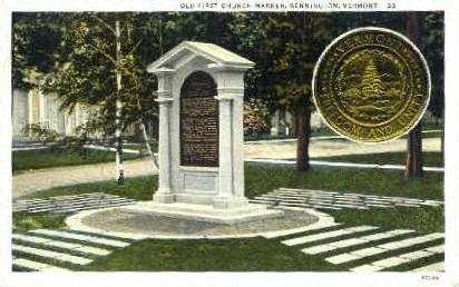 Old First Church - Bennington, Vermont VT Postcard