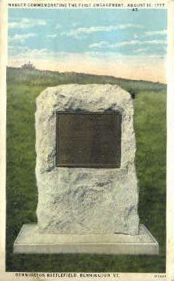Marker of First Engagement - Bennington, Vermont VT Postcard