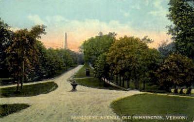Monument Avenue - Bennington, Vermont VT Postcard