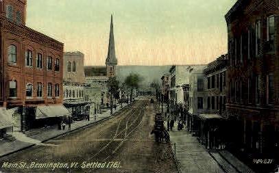 Main Street - Bennington, Vermont VT Postcard