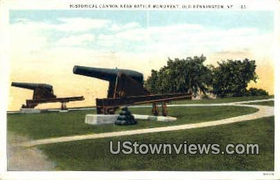 Historical Cannon, Battle Monument - Old Bennington, Vermont VT Postcard