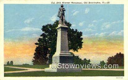 Col Seth Warner Monument - Old Bennington, Vermont VT Postcard