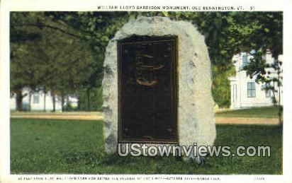 William Lloyd Garrison Monument - Old Bennington, Vermont VT Postcard