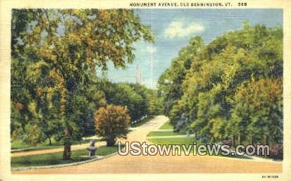 Monument Ave - Old Bennington, Vermont VT Postcard