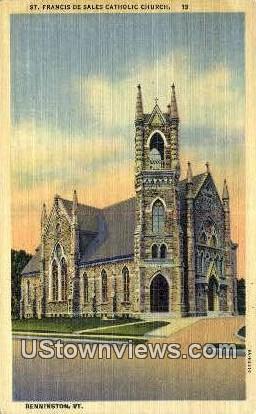 St. Francis De Sales Catholic Church - Bennington, Vermont VT Postcard