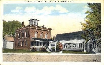 St. Mary's Church - Brandon, Vermont VT Postcard