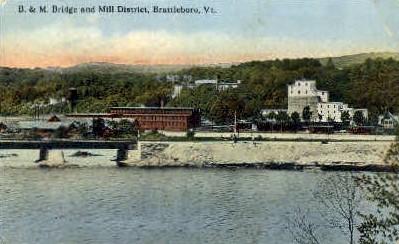 Mill District - Brattleboro, Vermont VT Postcard