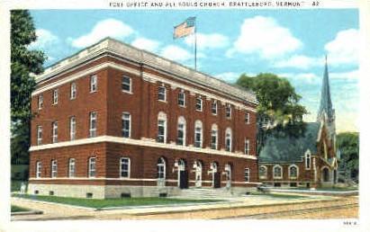 Post Office - Brattleboro, Vermont VT Postcard