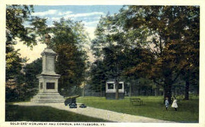 Soldiers Monument - Brattleboro, Vermont VT Postcard