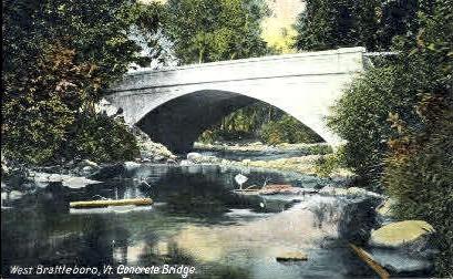 Concrete Bridge - Brattleboro, Vermont VT Postcard
