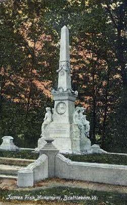 James Fisk Monument - Brattleboro, Vermont VT Postcard