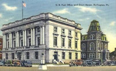 Post Office - Burlington, Vermont VT Postcard