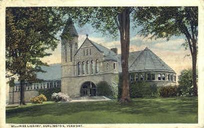 Billings Library - Burlington, Vermont VT Postcard