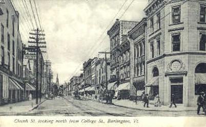 Church Street - Burlington, Vermont VT Postcard