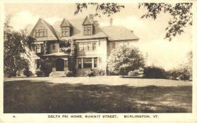 Delta Psi Home - Burlington, Vermont VT Postcard