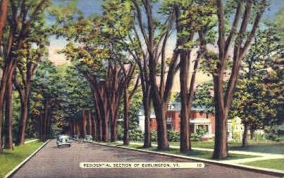 Residential Section - Burlington, Vermont VT Postcard