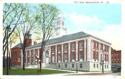 City Hall - Burlington, Vermont VT Postcard