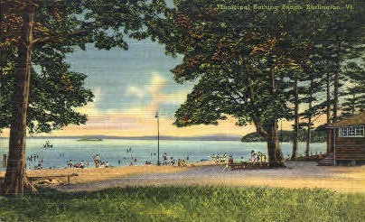 Municipal Bathing Beach - Burlington, Vermont VT Postcard