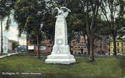 Soldiers Monument - Burlington, Vermont VT Postcard