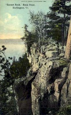 Sunset Rock - Burlington, Vermont VT Postcard