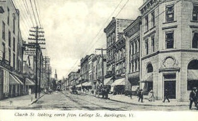 Church Street - Burlington, Vermont VT Postcard