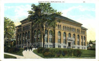 High School - Burlington, Vermont VT Postcard