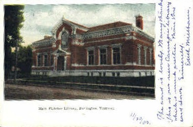 Mary Fletcher Library - Burlington, Vermont VT Postcard