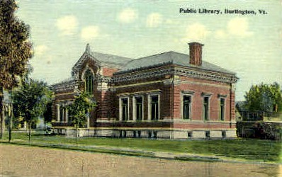 Public Library - Burlington, Vermont VT Postcard