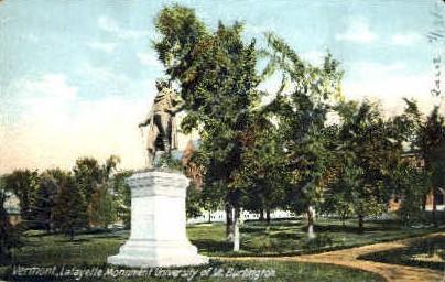 Lafayette Monument - Burlington, Vermont VT Postcard