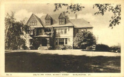 Delta Psi Home - Burlington, Vermont VT Postcard