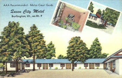 Queen City Motel - Burlington, Vermont VT Postcard