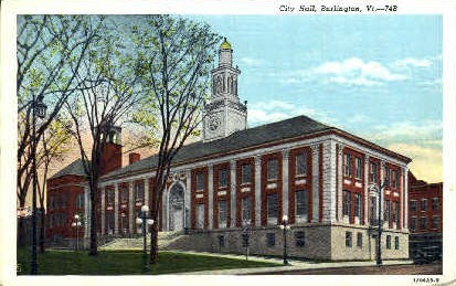 City Hall - Burlington, Vermont VT Postcard
