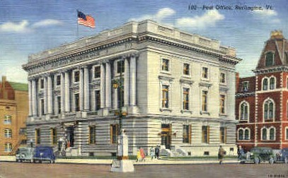 Post Office - Burlington, Vermont VT Postcard
