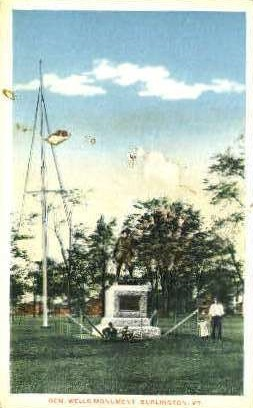 Gen. Wells Monument - Burlington, Vermont VT Postcard