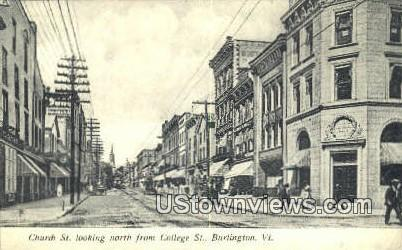 Church St - Burlington, Vermont VT Postcard