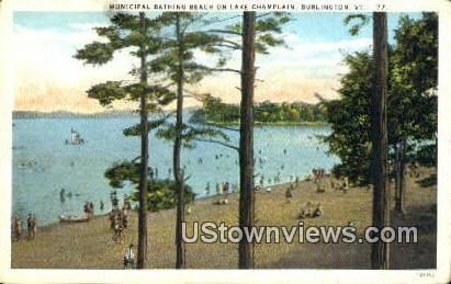 Municipal Bathing Beach, Lake Champlain - Burlington, Vermont VT Postcard