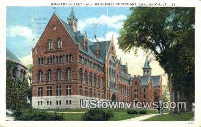 Williams Science Hall, University of Vermont - Burlington Postcard
