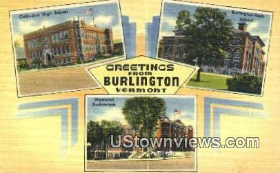 Memorial Aud - Burlington, Vermont VT Postcard