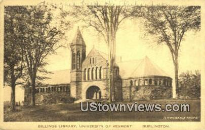 Billings Library, University of Vermont - Burlington Postcard