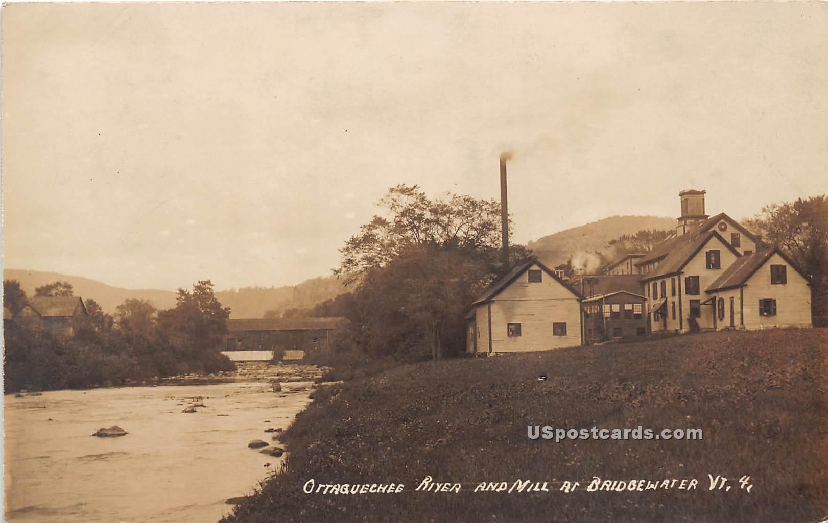 Ottaguechee River & Mill - Bridgewater, Vermont VT Postcard