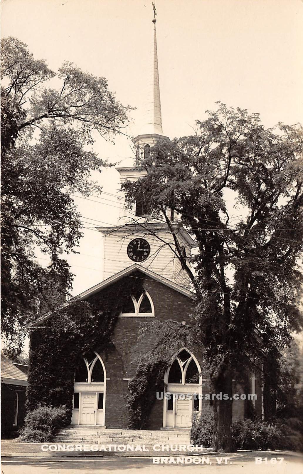 Congregational Church - Brandon, Vermont VT Postcard