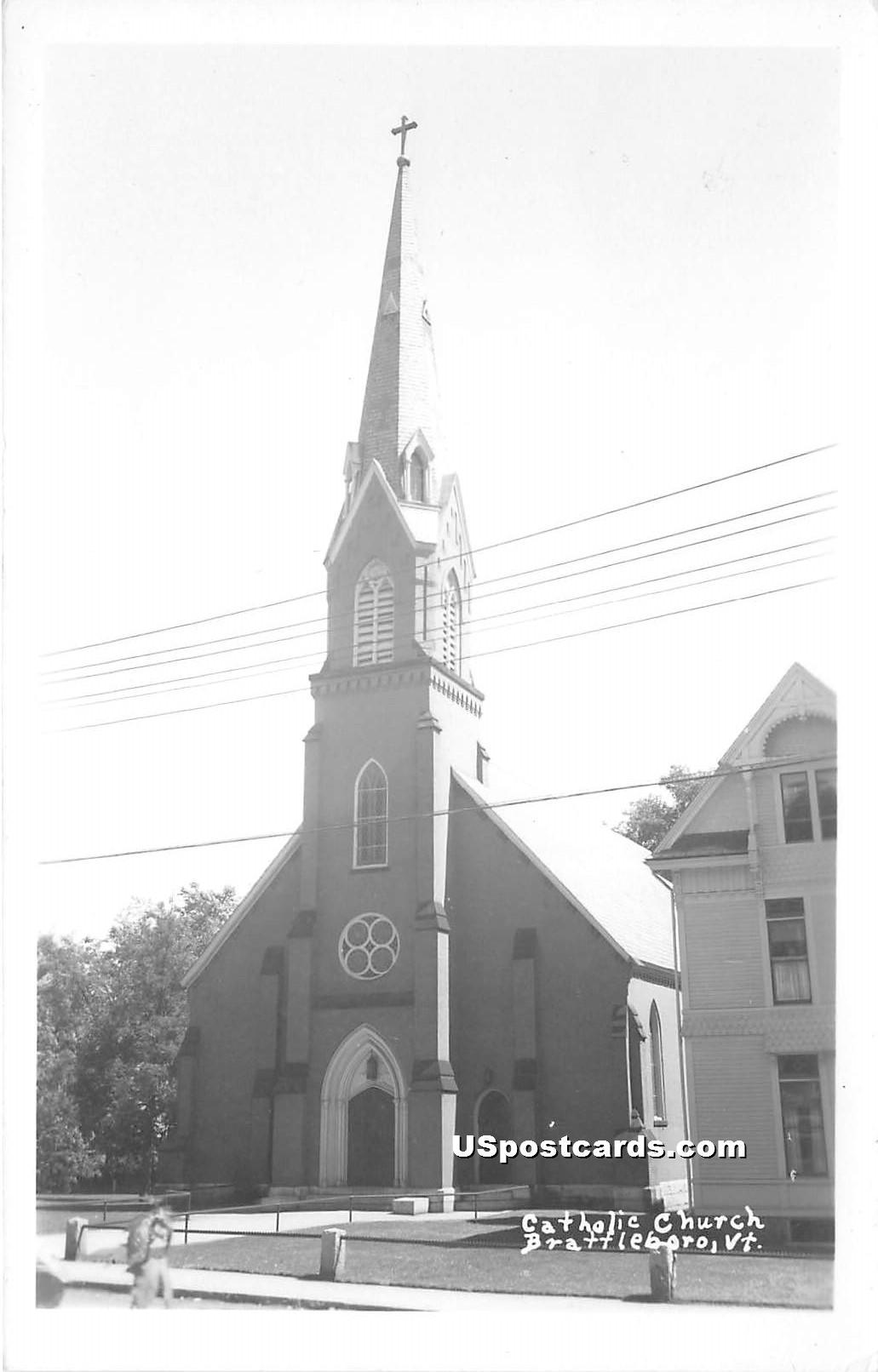 Catholic Church - Brattleboro, Vermont VT Postcard