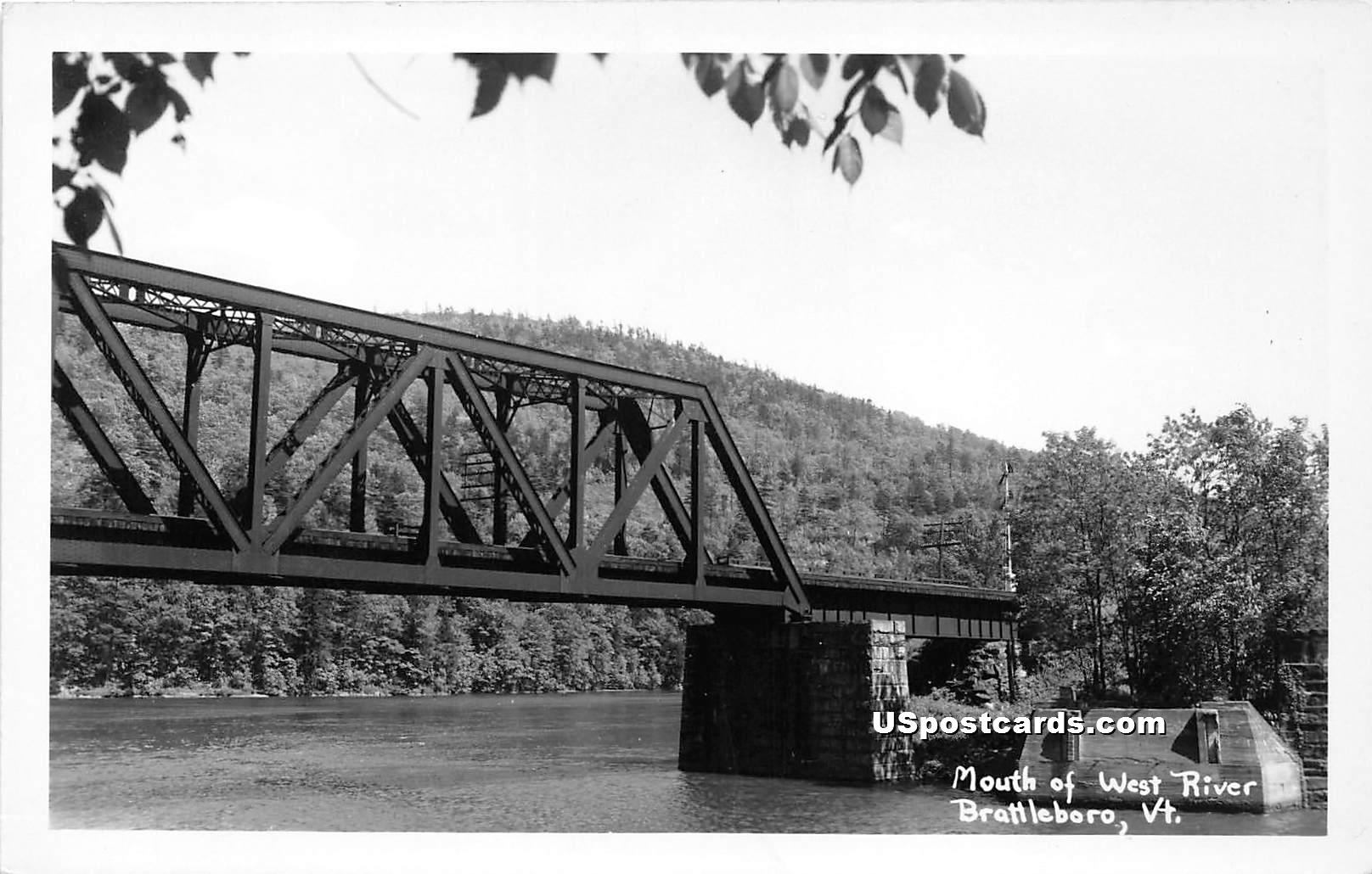 Mouth of West River - Brattleboro, Vermont VT Postcard