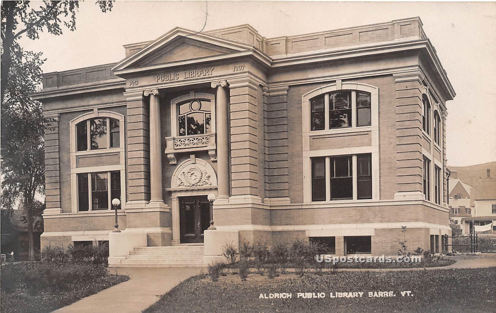 Aldrich Public Library - Barre, Vermont VT Postcard